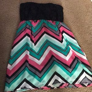 Summer strapless colorful Dress